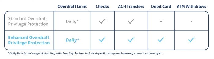 True Sky Credit Union Overdraft Protection